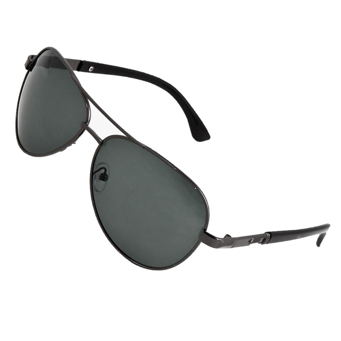 Man Double Bridge Plastic Wrapped Arms Oval Lens Polarized Sunglasses w Case