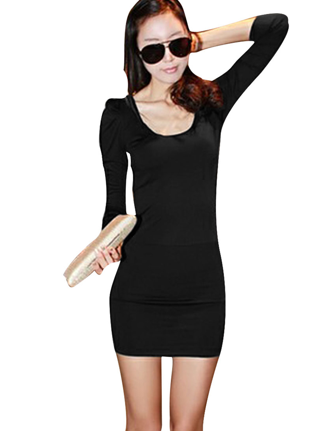 Lady Long Sleeves Mesh Detail Round Neck Form-fitting Black Dress XS