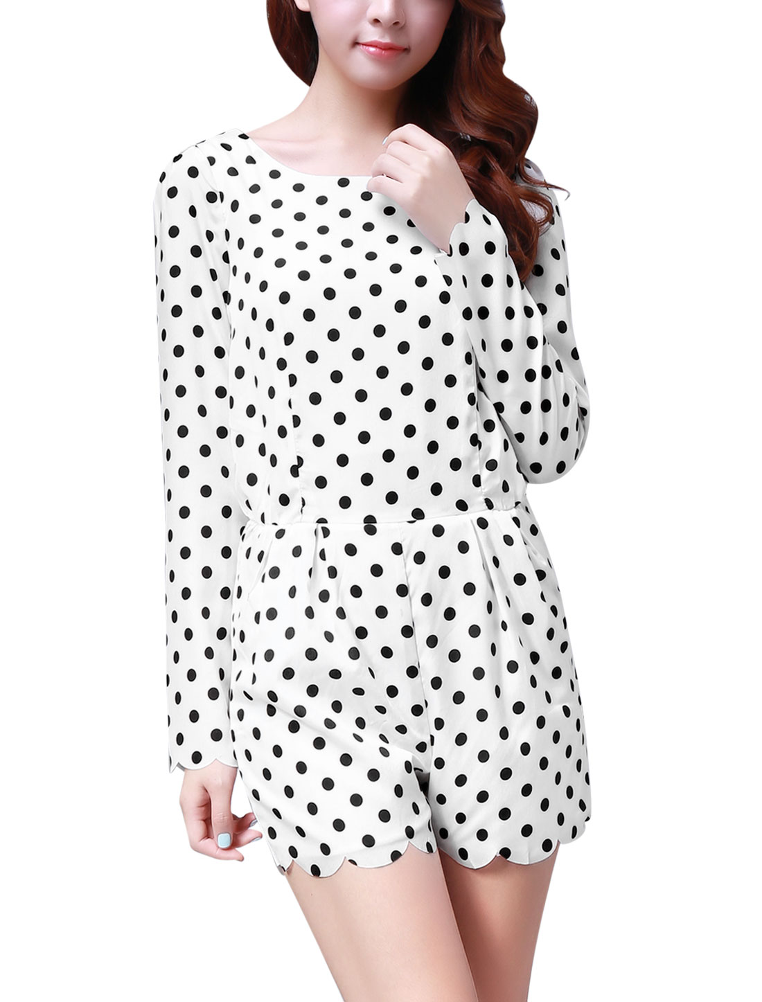 Woman Chic Polka-Dots Printed Pleated Detail White Rompers L