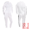 Women Convertible Collar Cut Out Tops & Elastic Waist Pants White XS