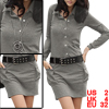 Pure Dark Gray Button Down Front Long Sleeve Mini Dress for Lady XS