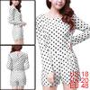 Allegra K Woman Stylish Scalloped Hem Design Dots Pattern White Rompers XL