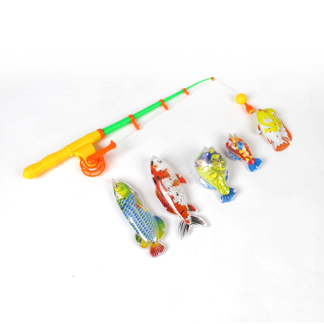 Children Yellow Green Rod Plastic Magnetic Tail Fish Fishing Game Toy Set 6 in 1