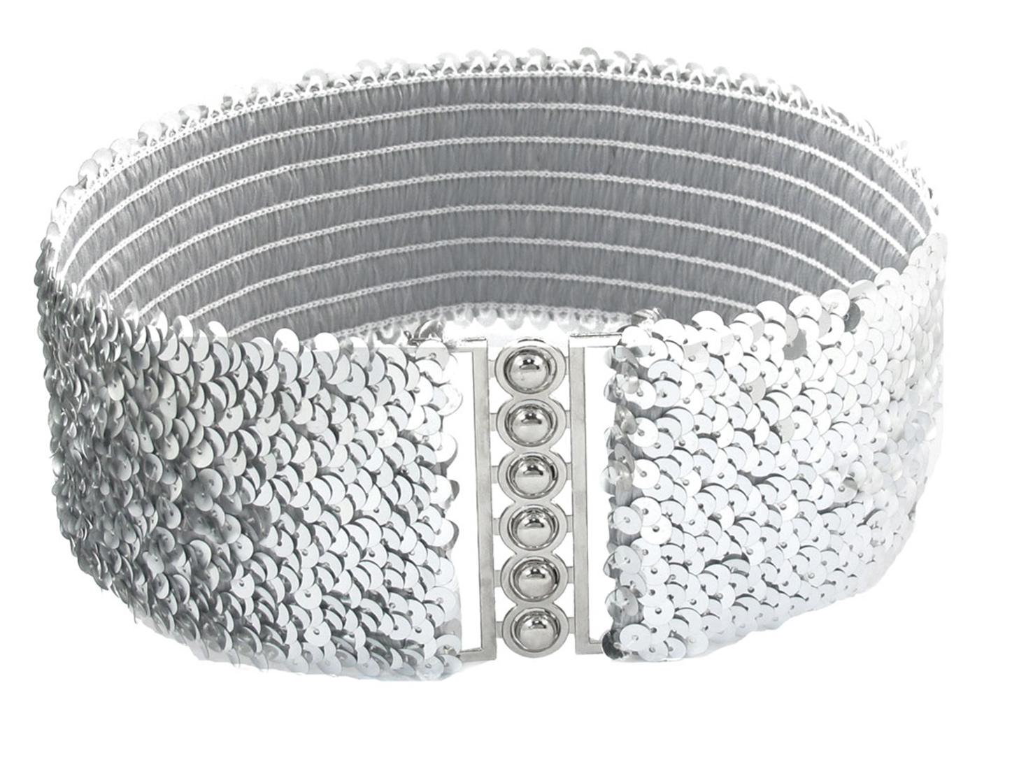 Interlock Buckle Silver Tone Sequin Decor Elastic Cinch Belt for Ladies