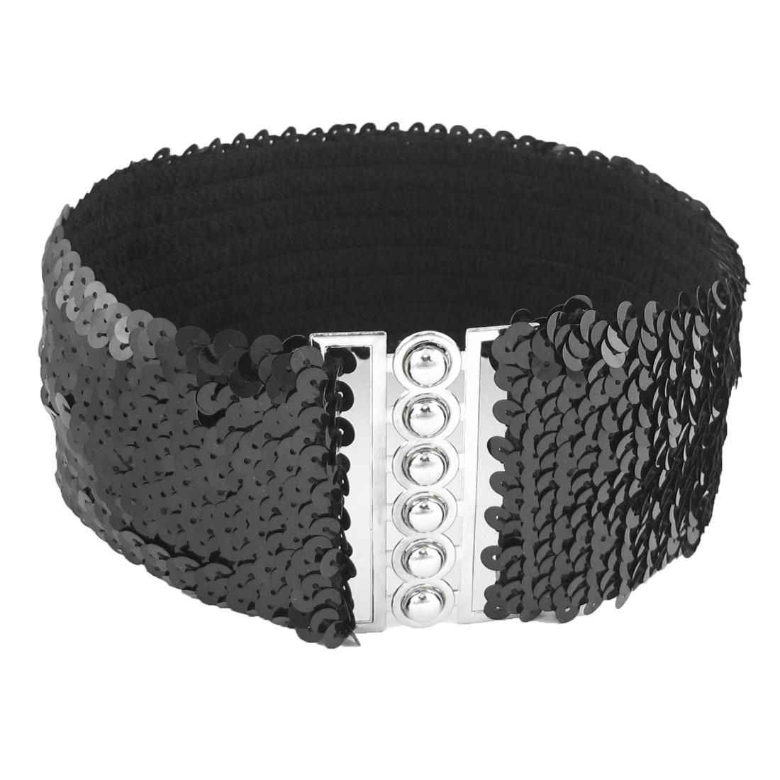 Ladies Interlock Buckle Black Sequin Accent Elastic Cinch Waist Belt