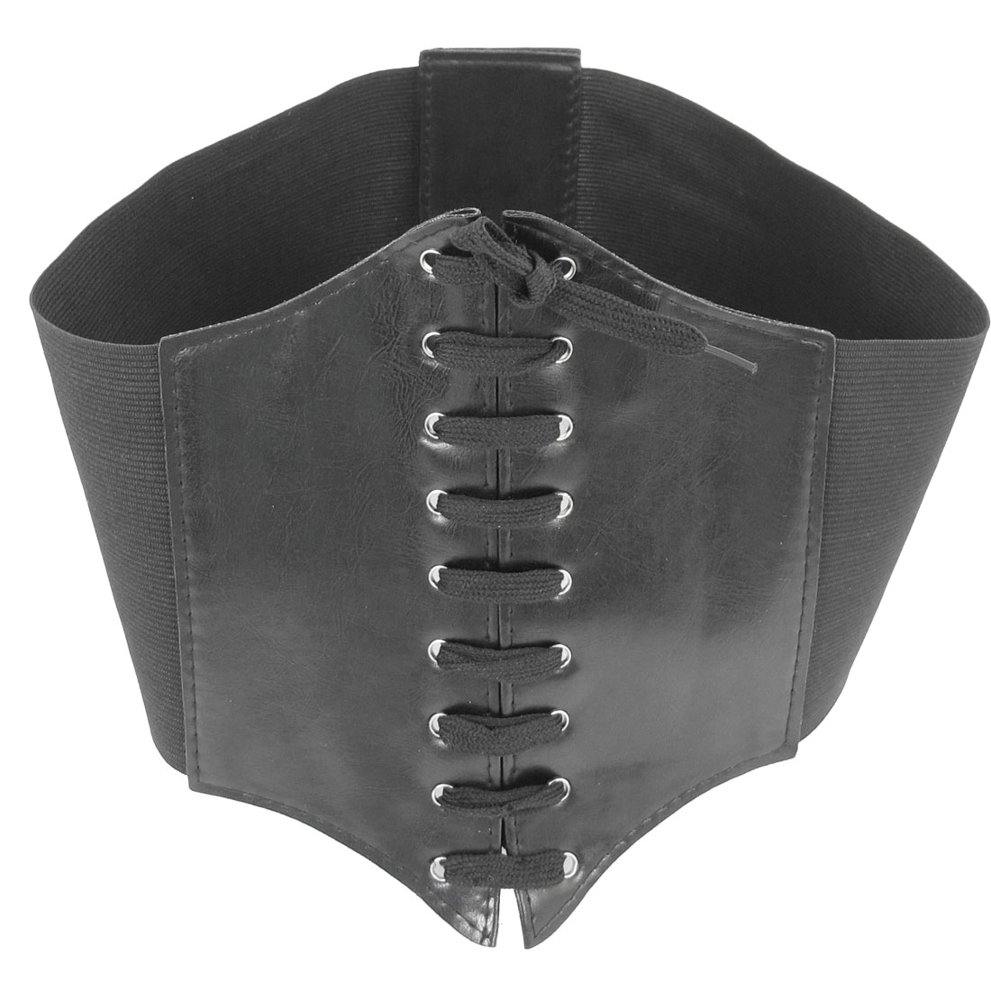 Hook Loop Fastener Black Stretchy Waist Cinch Belt Waistband Corset for Ladies
