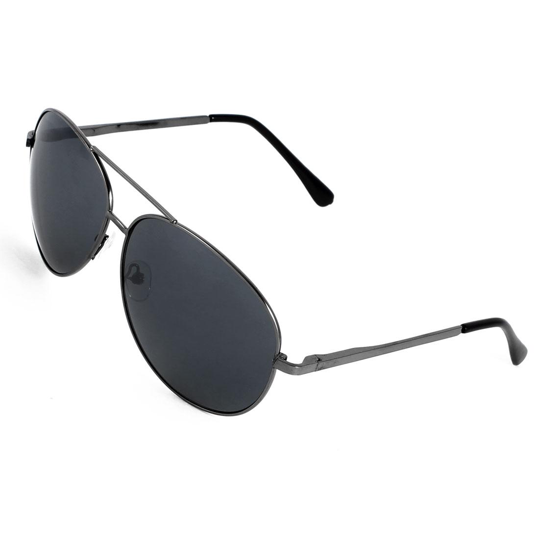 Men Gray Teardrop Len Dual Bridge Half Plastic Coated Metal Arm Sunglasses