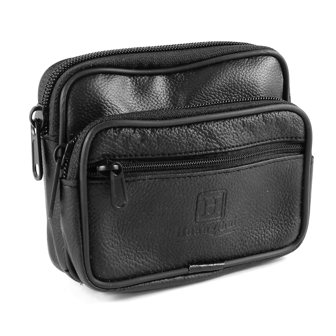 Men Black 3 Compartments Zippered Faux Leather Waist Pack Bag