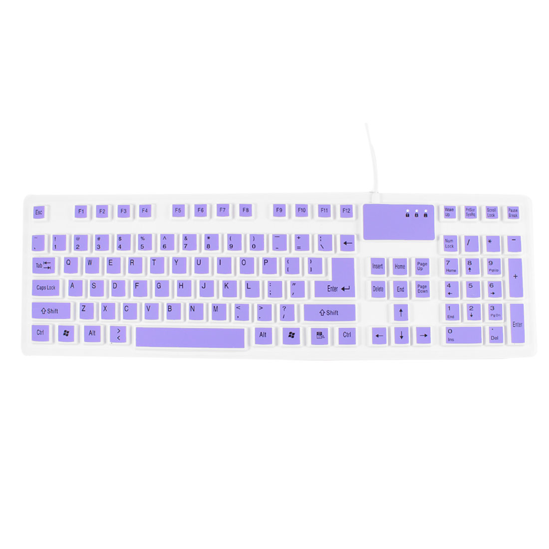 White Purple 107 Keys Wired USB Optical Keyboard for PC Laptop
