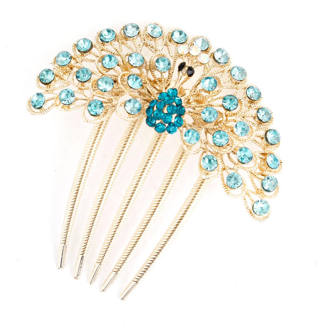 Lady Turquoise Glittery Plastic Rhinestone Decoration Comb Hairpin Gold Tone