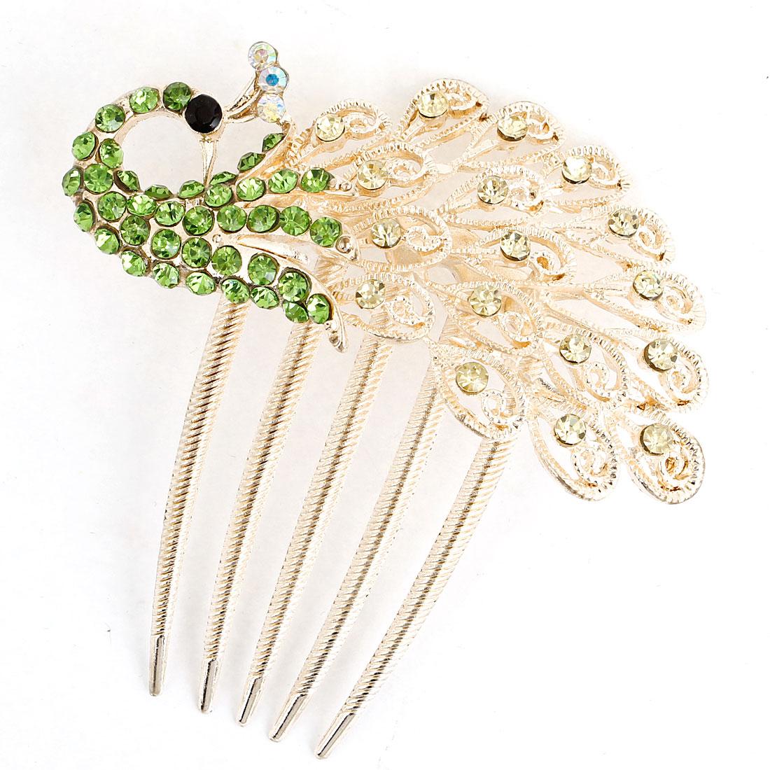 Sparkling Plastic Rhinestone Adorn Peafowl Shape Hair Comb Clip Gold Tone Green