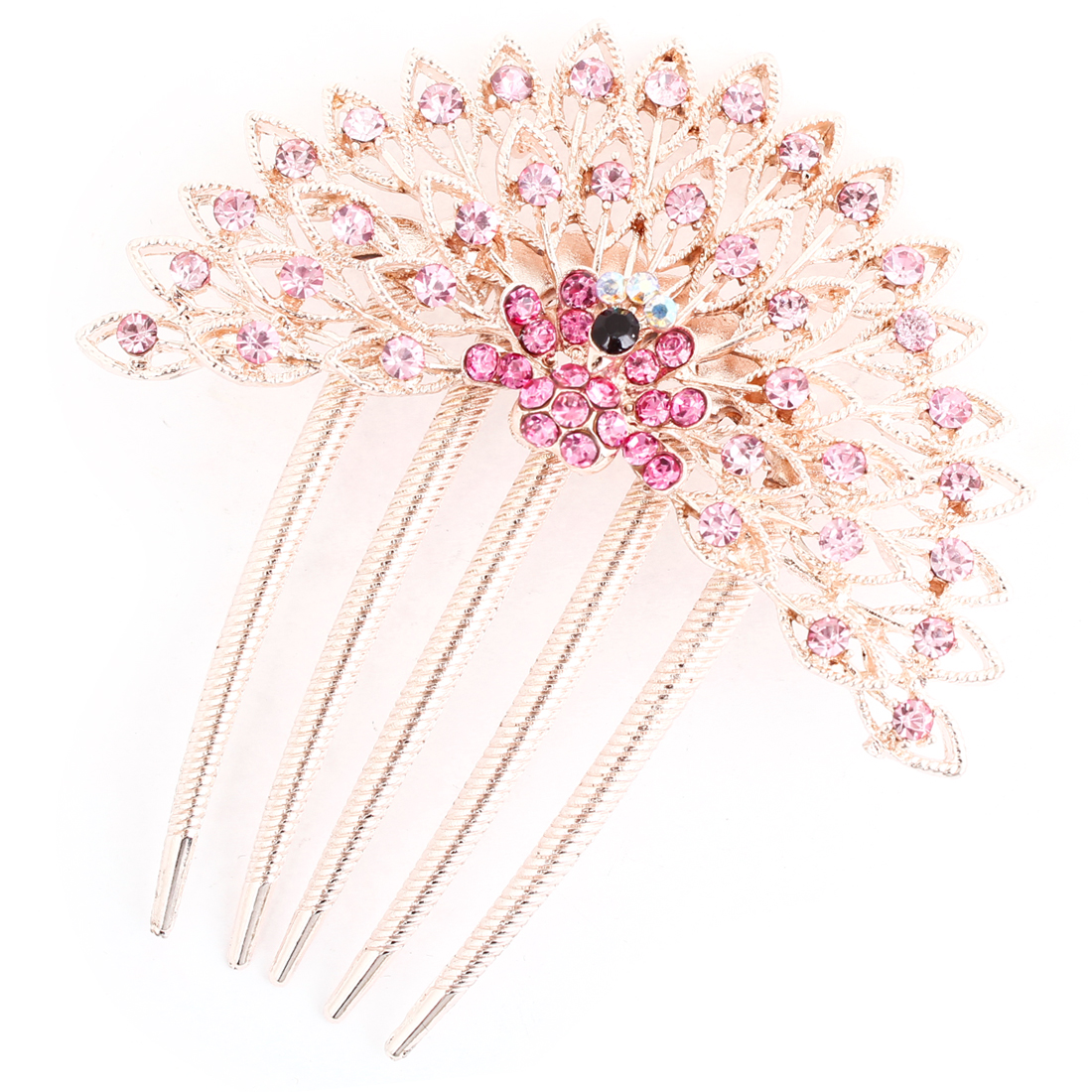 Pink Glittery Faux Rhinestones Inlaid Peafowl 5 Claws Hair Comb Clip Gold Tone