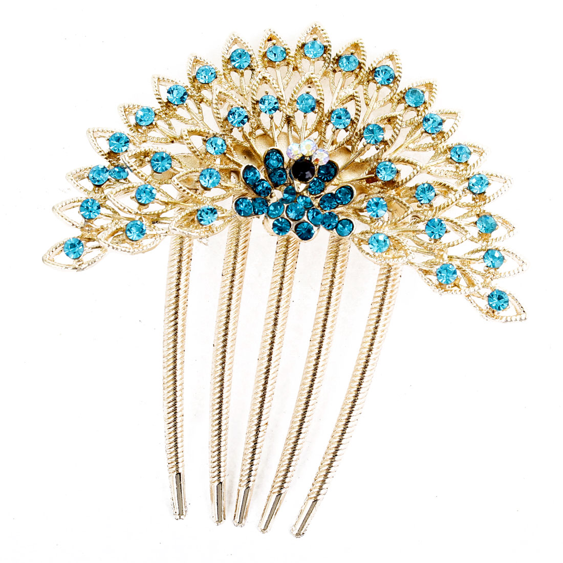 Blue Bling Bling Faux Rhinestones Inlaid Peacock Hair Comb Clip Claw Gold Tone