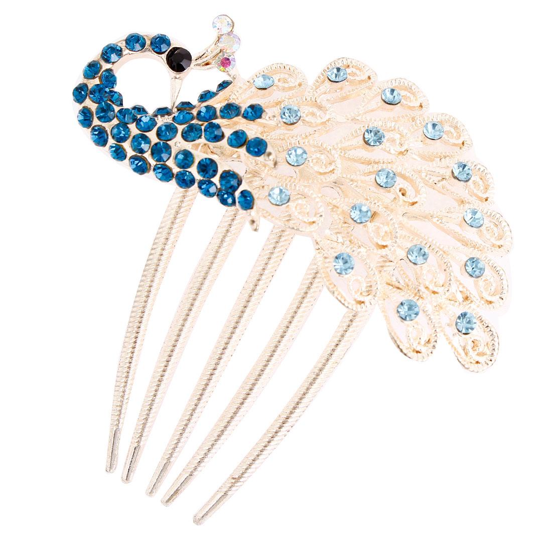 Blue Sparkling Faux Rhinestones Inlaid Peafowl Hair Comb Clip Claw Gold Tone