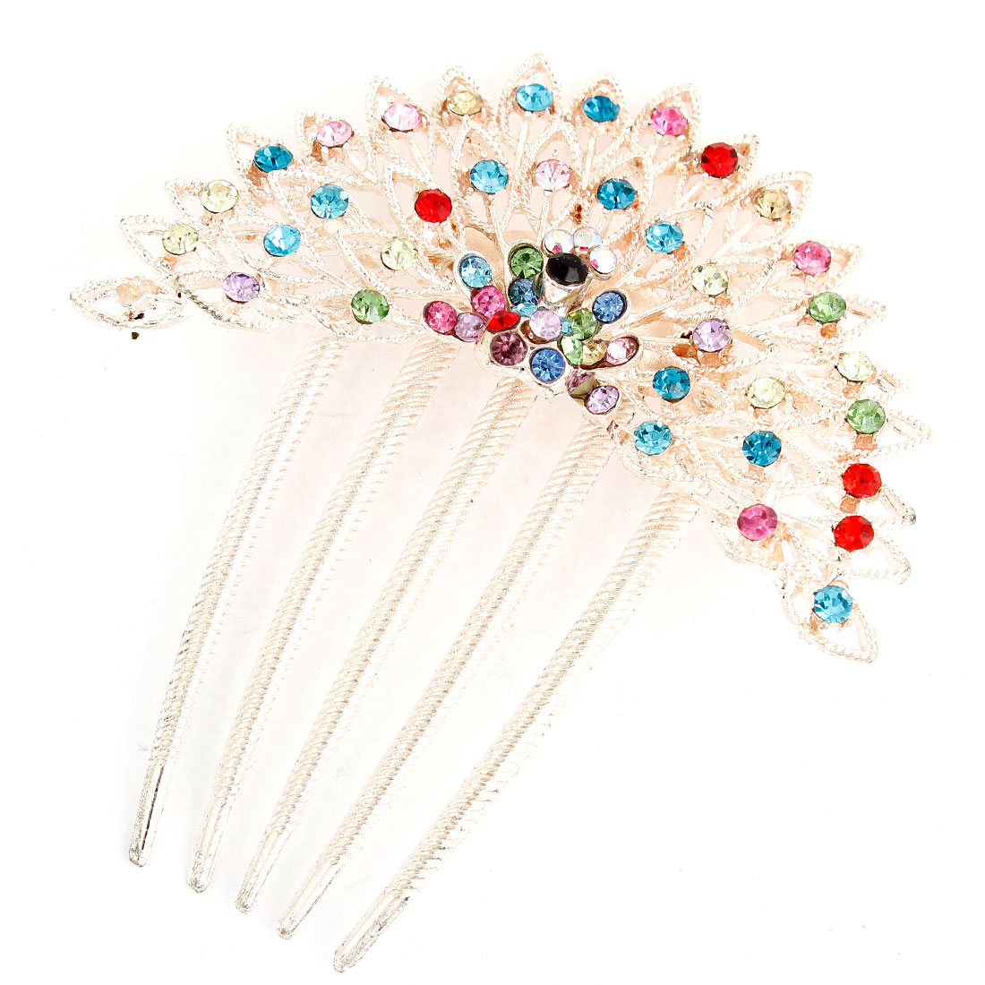 Colorful Bling Bling Faux Rhinestones Inlaid Peacock 5 Claws Hair Comb Clip