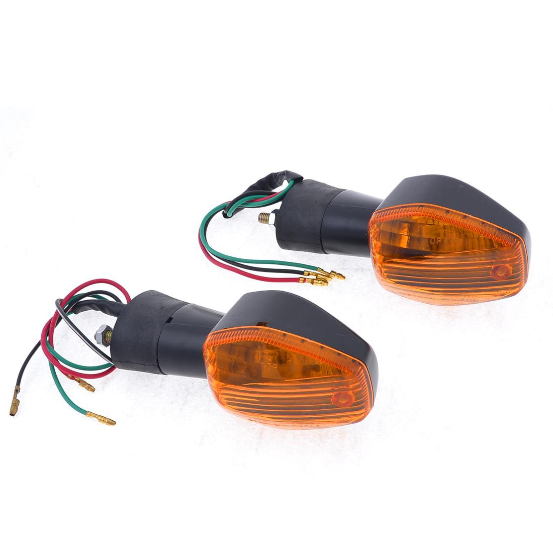 2 Pcs Black Plastic Motorcycle Yellow Turn Light Signal Lamps for Honda CBR600