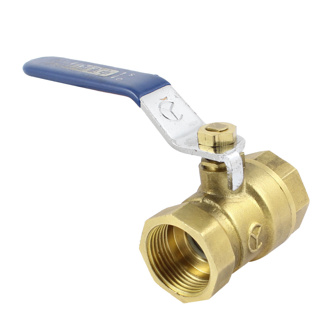 "Female to Female 3/4"" PT Threaded Blue Lever Handle Full Port Brass Ball Valve"