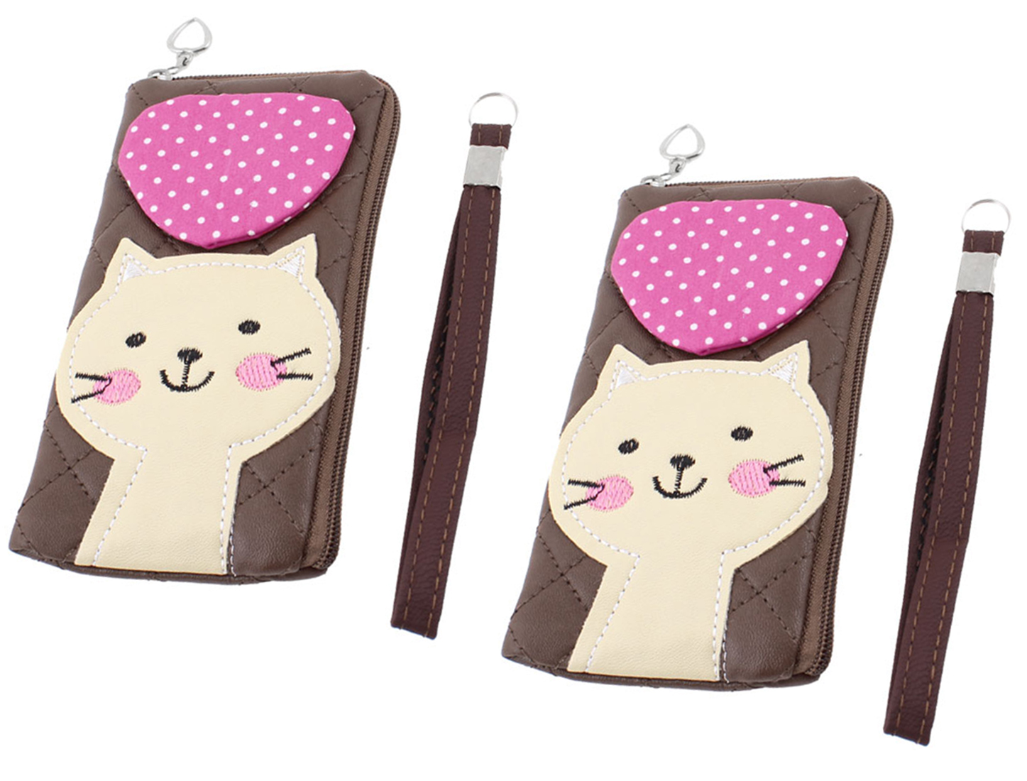 Ladies Zip Up Dotted Heart Detail Cat Head Printed Purses Bag Coffee Color 2 Pcs