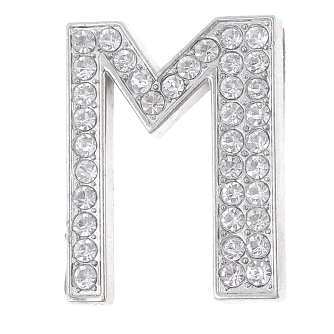 Car Decor Silver Tone Metal Self Adhesive Rhinestone Letter M Shaped Sticker
