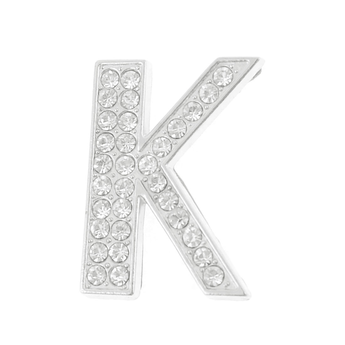 Auto Self Adhesive Silver Tone Metal Rhinestone Letter K Shaped Stickers