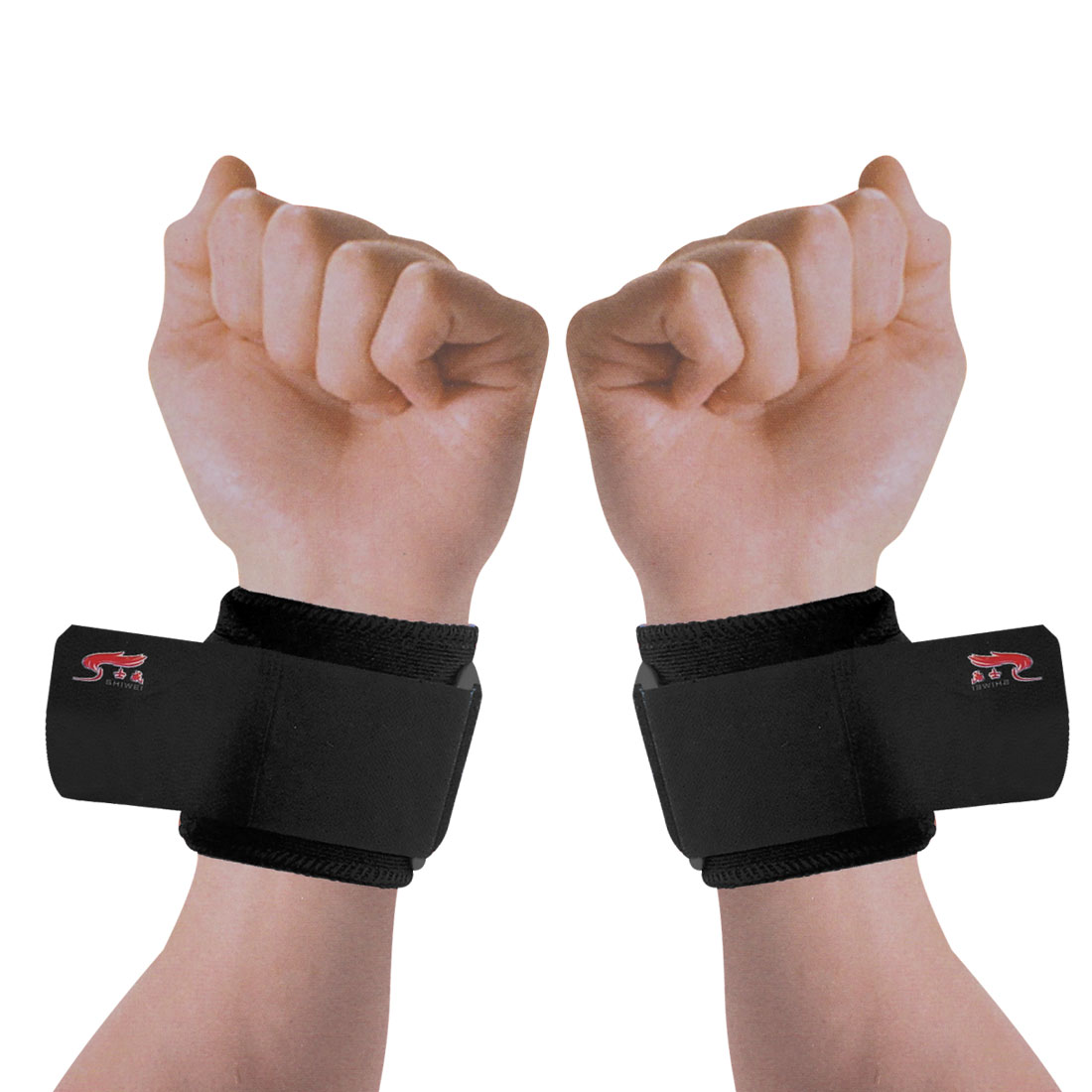 2 Pcs Black Hook Loop Fastener Adjustable Wrap Around Wrist Support Protector Brace