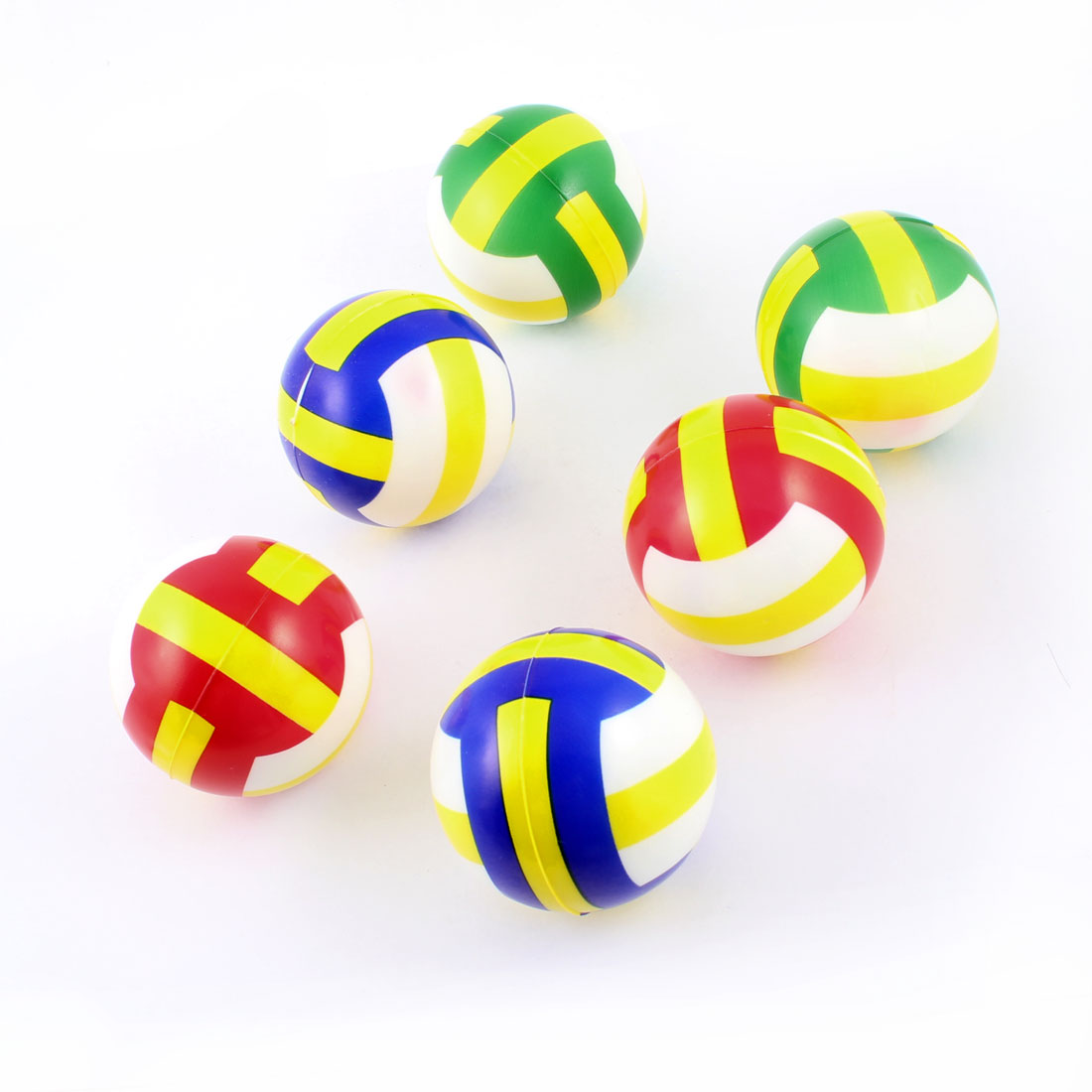 6 Pcs Assorted Colors Squeeze Plastic Stress Volleyball Toy for Children