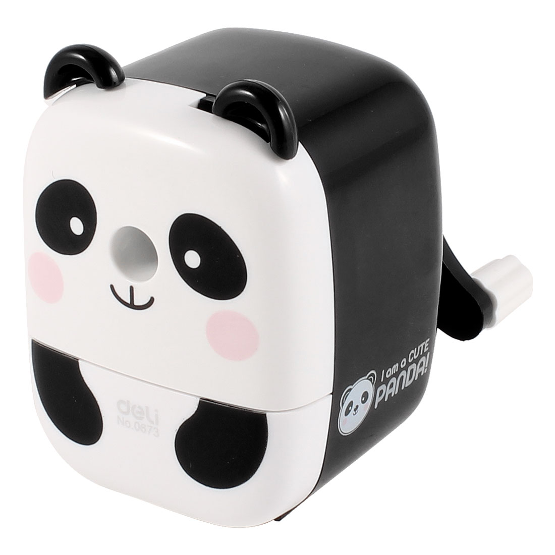 Student Plastic Panda Shaped Manual Operation Pencil Sharpener Black White