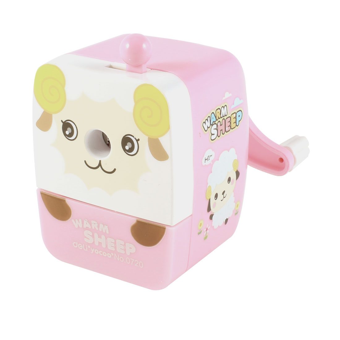 Pink White Plastic Shell Manual Operation Stationery Pencil Sharpener