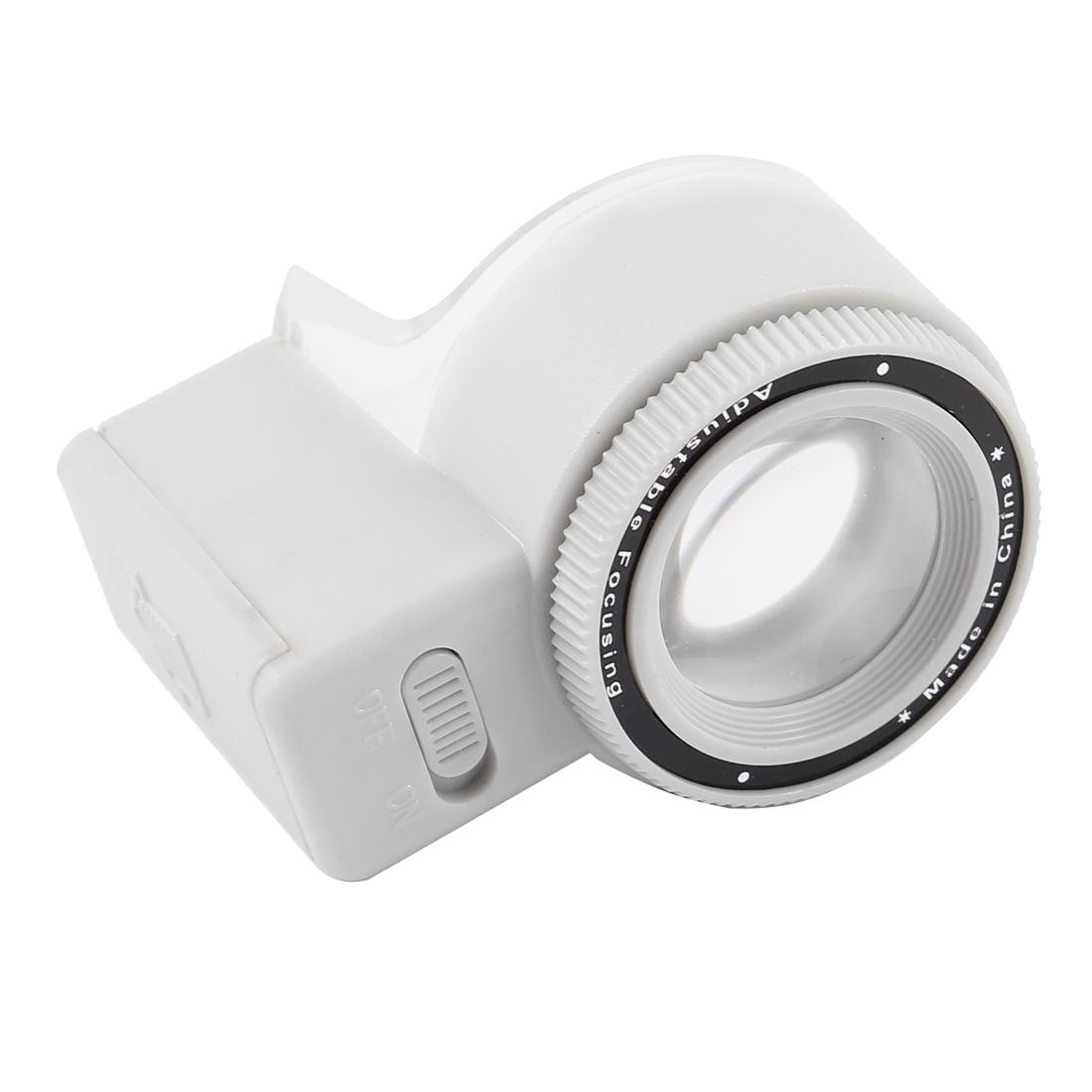 White LED Plastic 3X Round Lens Loupe Magnifier Light Gray