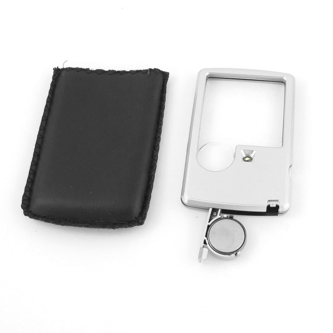 Silver Tone 2X 4X White LED Illuminated Card Pocket Magnifier Magnifying Glass