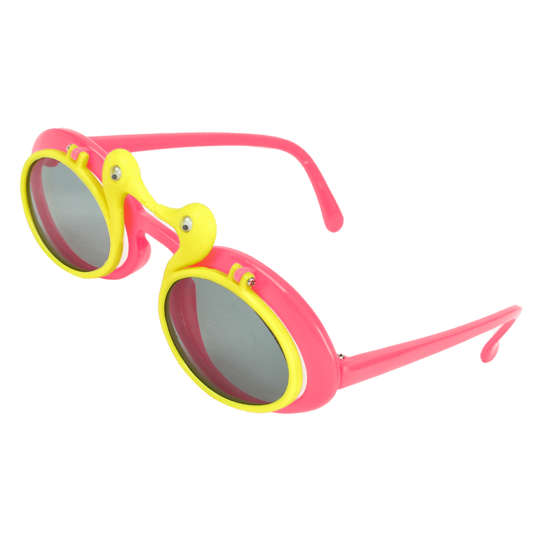 Hot Pink Yellow Duck Design Plastic Flip Up Sunglasses for Children