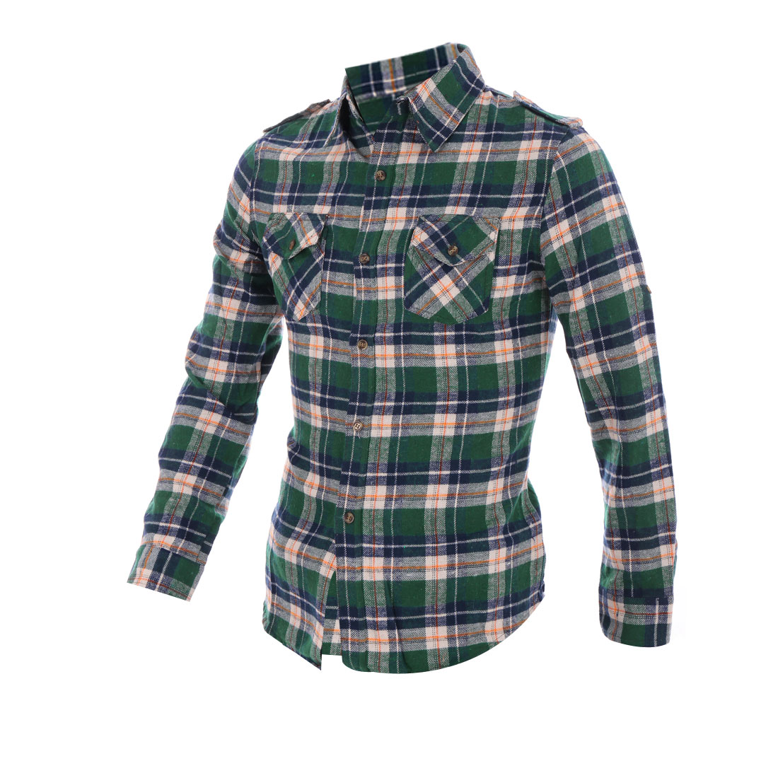 Button Front Button-tab Epaulets Blackish Green Sanding Man Shirt S