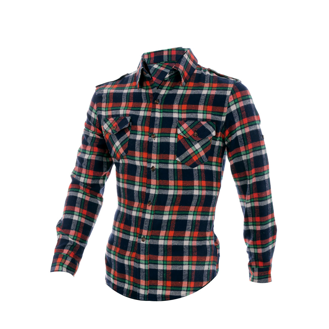 Men Flat Pockets Button Closure Point Collar Navy Blue Orange Plaid Shirt M