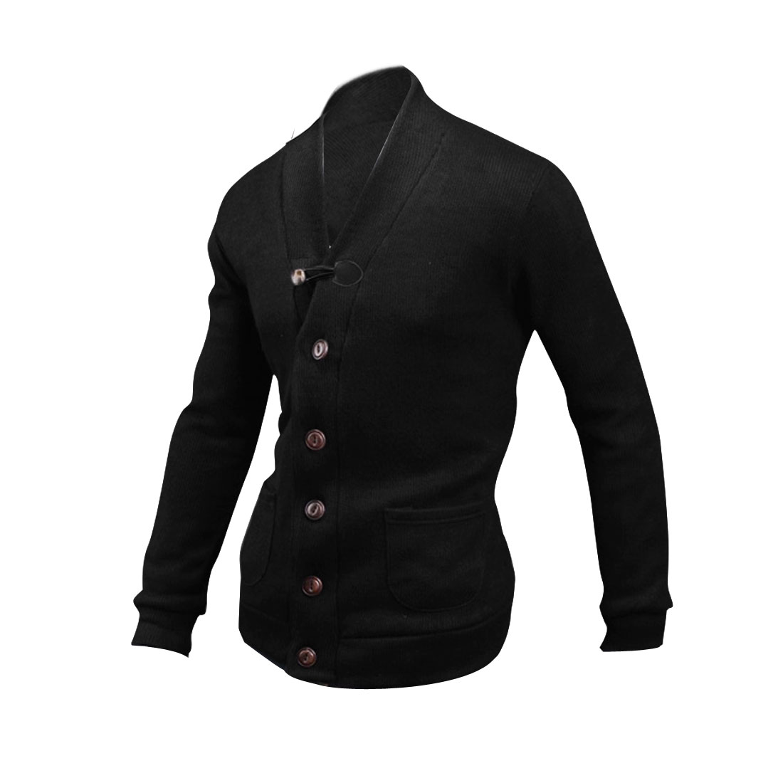Men V-Neck Long Sleeve Faux Suede Detail Black Knitted Cardigan S