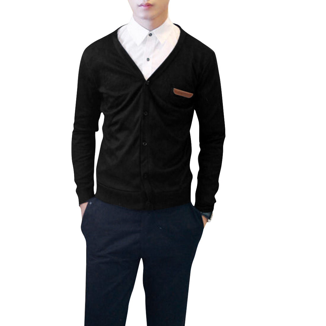 Men Deep V-Neck Faux Leather Detail Chest Pocket Design Black Cardigan S