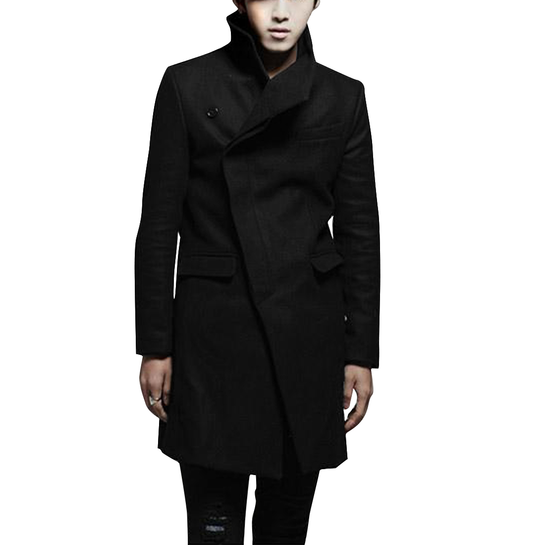 Man's Convertible Collar Black Warm Stylish Long Woolen Coat S