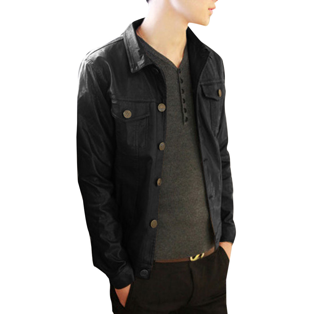 Point Collar Single Breasted Chic Black Leather Coat For Men S