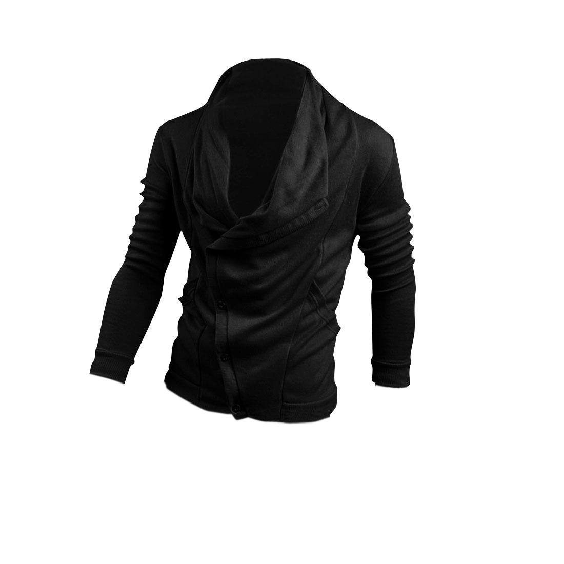 Men Cowl Neck Slant Button Up Pockets Below Hoodie Black M