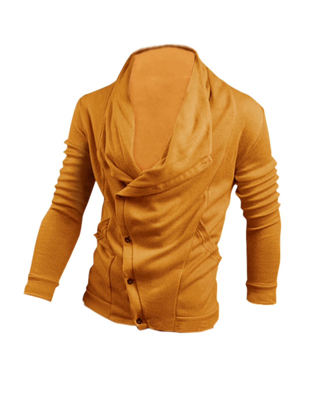 Men Slant Button Up Long Sleeve Elastic Hoodie Yellow M