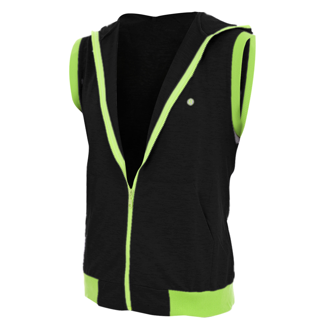 Men Hooded Zip Closure Big Pockets Design Vest Black Green M