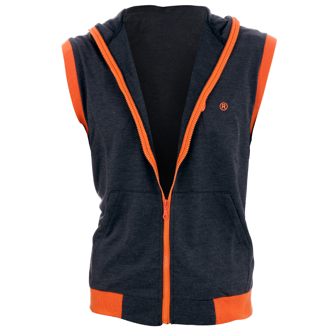 Men Hooded Zip Up Ribbing Slim Fit Vest Dark Gray Orange M