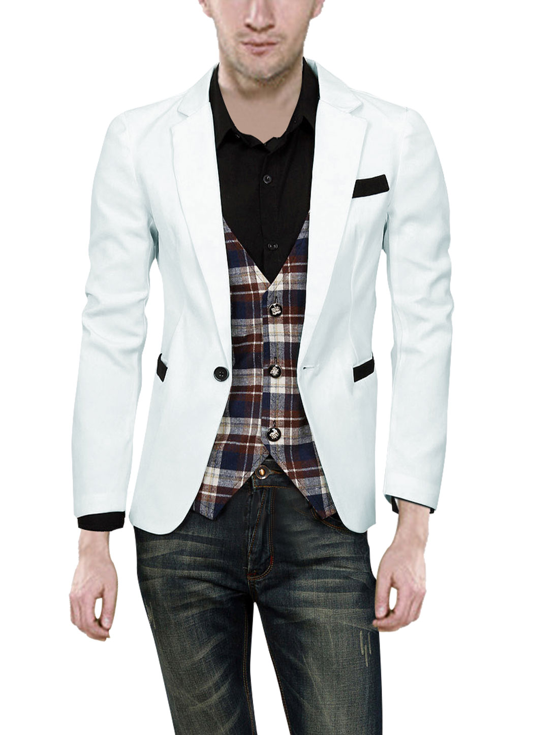Fashion One Button w Pockets White Blazer Coat For Men S