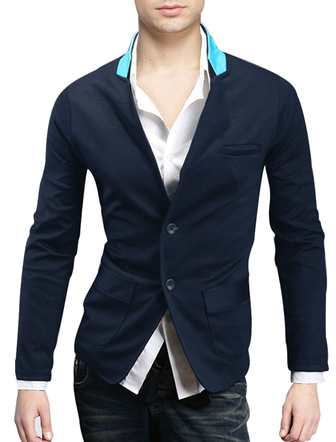 Men Chic Dark Blue Color Single-Breasted Front Casual Blazer Jacket S