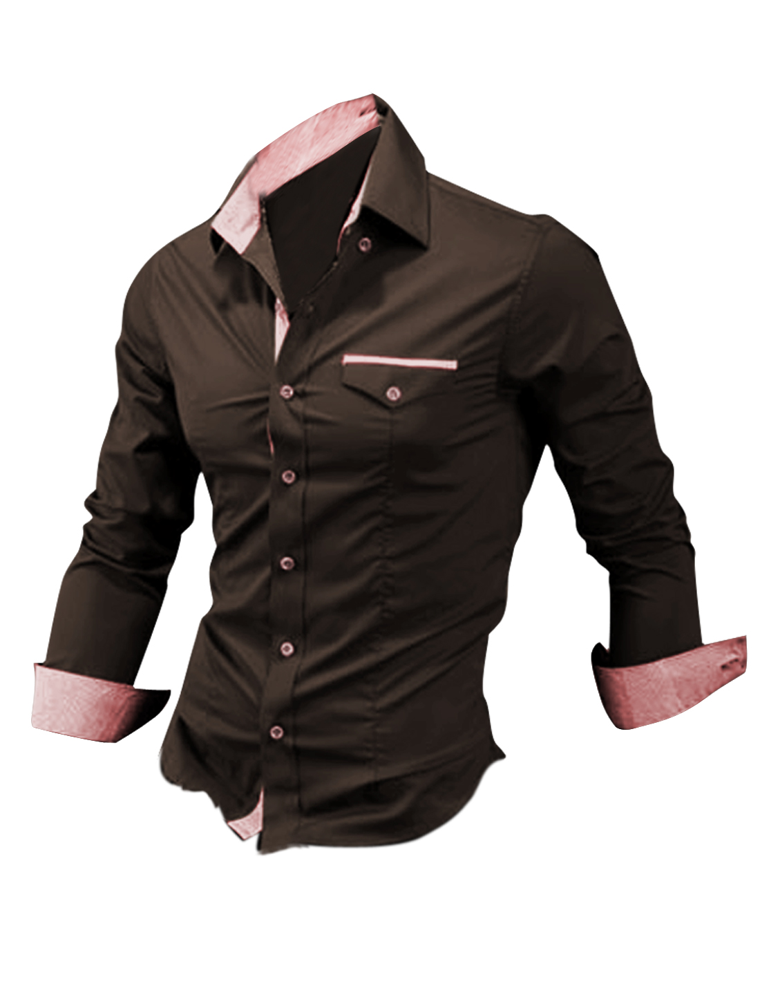 Men Single Breasted Long Sleeve Plaids Detail Autumn Brown Shirt M