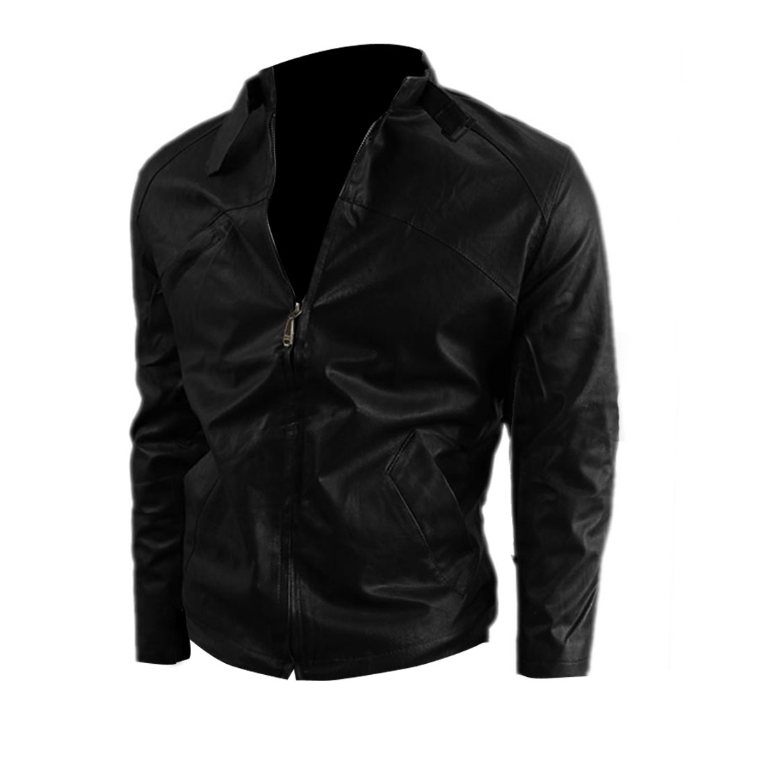 Men's Stand Collar Zip Up w Pockets Stylish Black Leather Jacket M