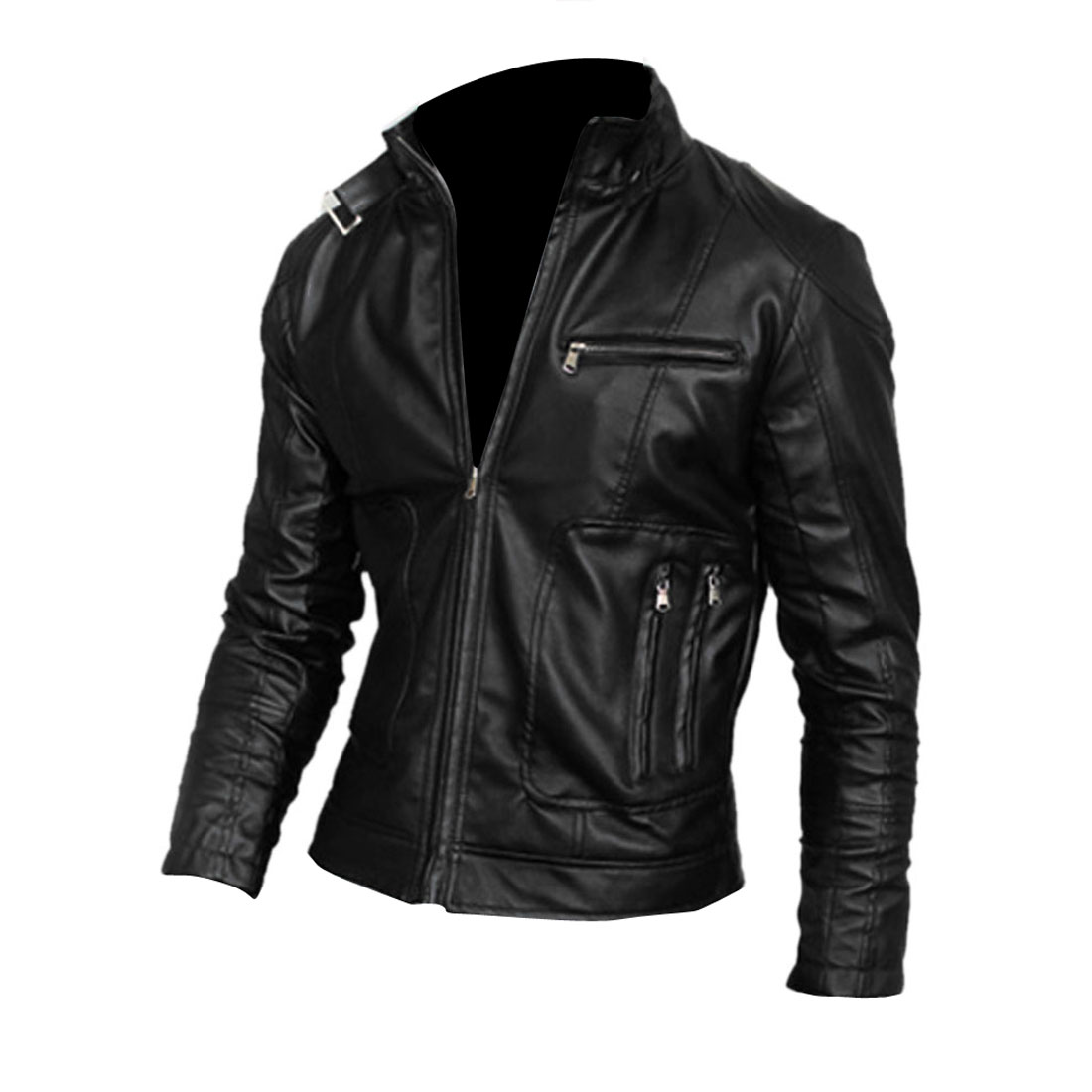 Men's Black Stand Collar Zip Up Stylish Soft Leather Jacket M