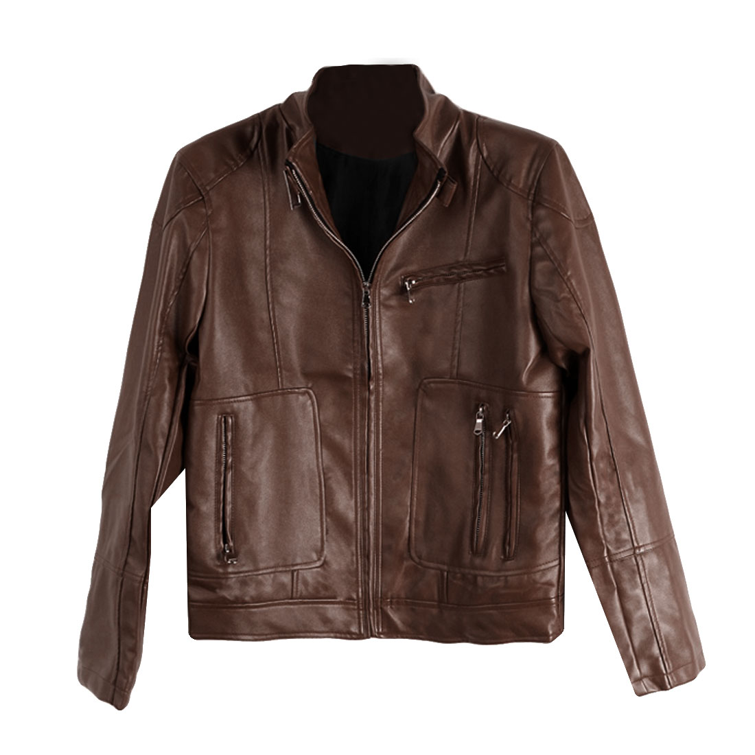 Man's Stand Collar Zip Up Fashion Brown Soft Leather Jacket M