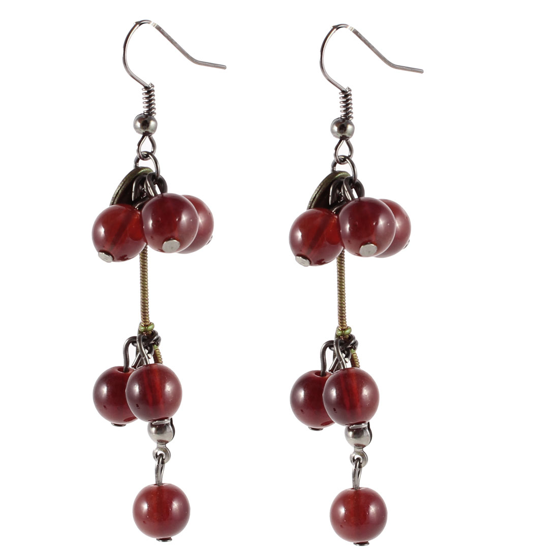 Burgundy Plastic Cherry Shape Dangling Fish Hook Earrings for Ladies