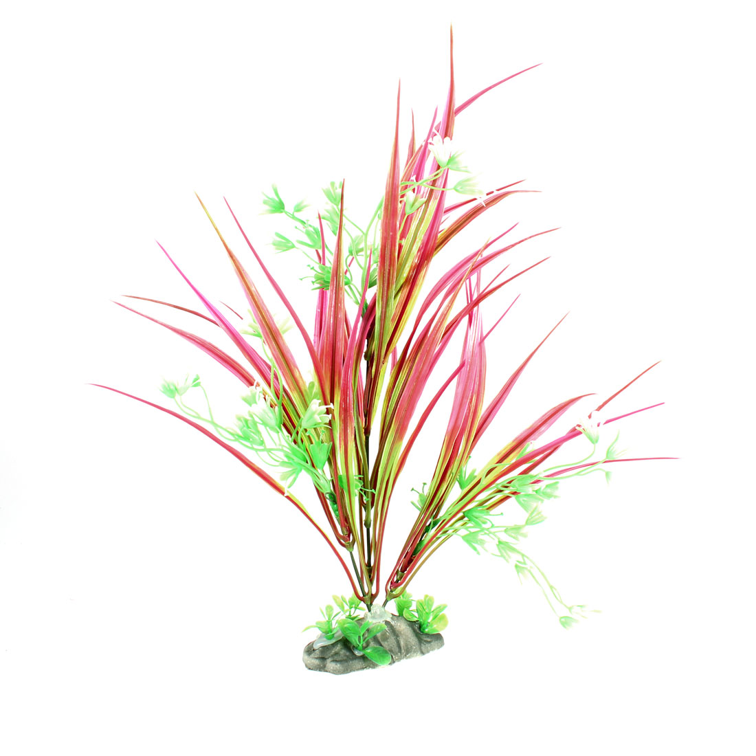 "10.2"" Height Fuchsia White Green Plastic Plant Grass for Fish Tank"