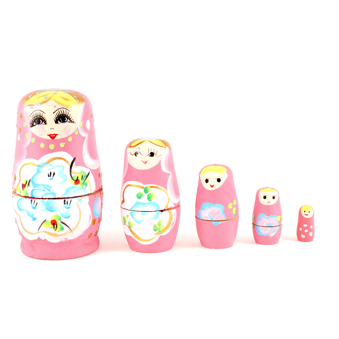 5 in 1 Separates Smiling Girl Pink Wooden Russian Dolls Sets for Kids